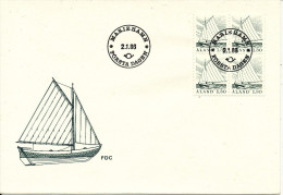Aland FDC 2-1-1986 Ordinary Stamp Boat In Block Of 4 With Cachet - Aland