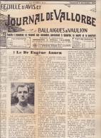 Vallorbe - Feuille D'Avis Et Journal De Vallorbe Ve 5 Nov. 1948 : Nécrologie Du Dr Eugène Annen ; 1 P. De 45 / 29,5 Cm - Carnaval