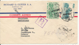 Peru Registered Air Mail Cover Sent To Denmark 27-11-1953 (the Cover Is Damaged In The Left Side) - Peru