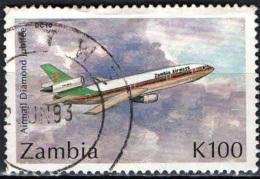 ZAMBIA - 1992 - AEREO DC-10 - 75° ANNIVERSARIO DELLA POSTA AEREA - USATO - Zambia (1965-...)