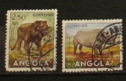 Angola 1953 Animals Lion And Rhino Used - Angola