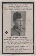Sterbebild Totenzettel Wehrheim Friedrichsthal Ferdinand Matern Gefallen In Italien 1943 WW2 - Taunus