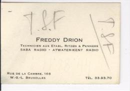 Carte De Visite Freddy Drion Techicien Aux établissements Ritzen & Penners. Bruxelles Vers 1930 - Cartes De Visite