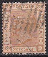 Italy 1867-77 King Victor-Emmanuel II 20 C. Orange Y & T 24 / Michel 28 - 1861-78 Victor Emmanuel II