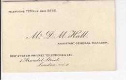 Carte De Visite Mr D.M. Hall Assistant Général Manager New System Private Telephones Ltd London Vers 1919 - Cartes De Visite