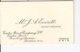 Carte De Visite Mr J.A. Evertt Export Manager Coates Bros & Company Ltd London Vers 1920 - Cartes De Visite