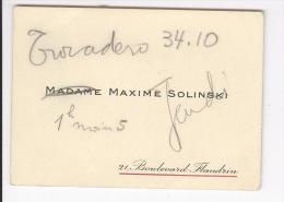 Carte De Visite Mme Maxime Solinski  Boulevard Flandrin (Paris) Surcharge Manuscrite - Cartes De Visite