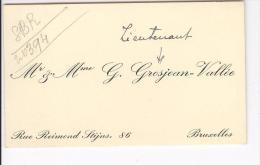 Carte De Visite Mr & Mme (Lieutenant)  G. Grosjean - Vallée Ajout Manuscrit Bruxelles 1920 Environ - Cartes De Visite