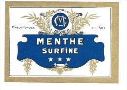 Ancienne ETIQUETTE - Menthe Surfine MC  Format 13*9 - Etiquettes