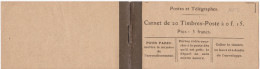16123# CARNET VIDE N° 130 Type SEMEUSE LIGNEE 20 Timbres Poste à 0f.15 Prix : 3 Francs - Carnets