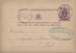 381/21 - Entier Postal Lion Couché NINOVE 1878 Vers LEMBECQ - Cachet Stichelmans § Fils , Fabricants De Fil De Lin - Cartes Postales [1871-09]