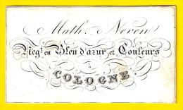 Ca1850 MATH & NEVEN NEG. En BLEU D AZUR Et COULEURS FAUBOURG DE COLOGNE St-Josse-ten-Noode CARTE VISITE PORCELAINE P247 - Cartes De Visite