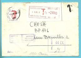 "2203 Op Brief Met Stempel BRUXELLES, Getaxeerd (taxe) Vignet Roodfrankeering ""24Fr"" , +REFUSE POUR LA TAXE+ RETOUR - 1981-1990 Velghe"