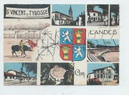 Saint-Vincent-de-Tyrose (40) :7 Vues Avec Blason Et Carte Géographique Dont Corrida En 1960 (illustration) GF. - Saint Vincent De Tyrosse