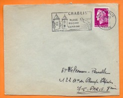 89 CHABLIS  SES VINS     31 / 7 / 1968 Lettre Entière N° J 505 - Marcophilie (Lettres)