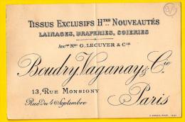 Ca1865 MAGASIN TISSUS BOUDRY VAGANAY Rue Monsigny 75002 PARIS 75002 SEMI-CARTE PORCELAINE LAINAGES SOIERIES Visite P272 - Frankreich