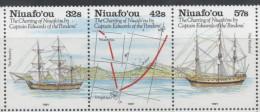 NIUAFO´OU,1991 , MNH, SHIPS, PANDORA, BOUNTY, CHARTERING OF NIUAFO´OU BY CPT. EDWARDS, MAPS, 3v - Ships