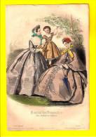 GRAVURE DE MODE Juil 1863 JOURNAL DES DEMOISELLES fillette au cerises chapeau litho lithographie engraving eau-forte R62