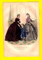 GRAVURE DE MODE Nov 1863 JOURNAL DES DEMOISELLES Garçon Au Bonnet Chapeau Litho Lithographie Engraving Eau-forte     R94 - Avant 1900