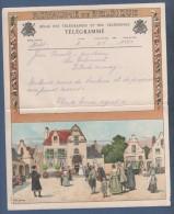 JOLI TELEGRAMME ROYAUME DE BELGIQUE - ILLUSTRATEUR AM. LYNEN - NOCE PLACE DE VILLAGE - A.6 (F.) HETS - Stamped Stationery