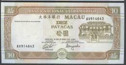 MACAO (MACAU): Banconota 10 Patacas 1991 - P65 - FDS - Macao