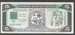 LIBERIA : 5 Dollars - 1991 - P20 - FDS - Liberia