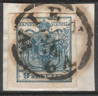 Österreich / Austria, 1850 / 54, 9 Kreuzer, Maschinpapier, Type IIIb, Gestempelt, Briefstück - Usados