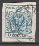 Österreich / Austria, 1850 / 54, 9 Kreuzer, Maschinpapier, Type IIIb, Gestempelt, - Usados