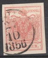 Österreich / Austria, 1850 / 54, 3 Kreuzer, Maschinpapier, Type IIIb, Plattenfehler, Gestempelt, - Usados
