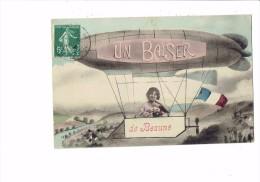21 - BEAUNE - Cote D´Or - Un Baiser De ... - Montage Femme Dans Ballon Dirigeable - Drapeau Français - 1908 - Beaune
