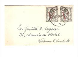 TP 673(2) Petit Sceau De L'Etat Surchargé V Rouge C.Ixelles 31/12/1948 V.Woluwé St.Lambert PR2526 - Bélgica