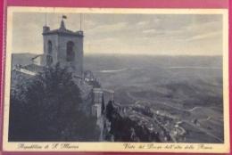 REPUBBLICA DI S.MARINO VISTA DEL BORGO DALL'ALTO DELLA ROCCA - VIAGGIATA CON 20 C. LITTORIALI DA SAVIGLIANO SUL RUBICONE - San Marino