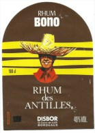 Etiquette Rhum  Des Antilles Rhum Bono Disbor Bordeaux - Rhum