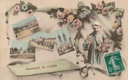 """CAEN - Jolie Carte Fantaisie Homme Avec Vues Multiples """"Souvenir De CAEN """" - Caen"""