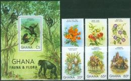 Ghana 1982 Animals, Flowers, Orchids MNH** - Lot. A13 - Ghana (1957-...)