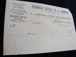 Facture Pharmacie Centrale De La Champagne Weinmann En 1927 -- Herboristerie Etc...    M1 - Droguerie & Parfumerie