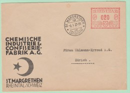 S9. Suisse. EMA Freistempel. OPD Chemische Industrie & Confiserie St-Margarethen  6.1.32 - Postage Meters