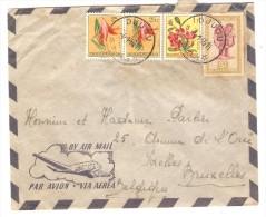 Belgisch Congo Belge TP Fleurs&Masque S/L.Avion écrite De Kibali C.Djugu En 1955 V.Bruxelles Belgique PR2534 - Congo Belge
