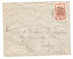 Belgisch Congo Belge TP Masque S/L.Avion écrite De Kibali Ituri C.Djugu En 1953 V.Bruxelles Belgique PR2535 - Poste Aérienne: Lettres