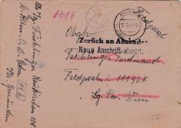 Feldpost WW2: Returned, Wait For New Address - Zurück An Absender, Neue Anschrift Abwarten Originally Adressed To IV. Ab - Militares