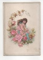 Chromo Gaufré, Fille Aux Roses, Robe Et Rose En Tissus Brodé, - Trade Cards