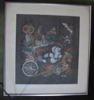 "GLHD. 6. Peinture Sur Tissu Thailandais Signé "" BUNTOON "" Cadre En Aluminium - Rugs, Carpets & Tapestry"