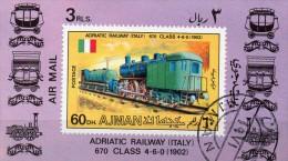 Ajman Block Mi. 1201  Dampflok - Treinen