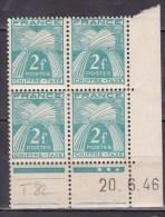 N° 72 Type Gerbe Légende France Chiffre-Taxe 2f Bleu Vert Bloc Coins Datés 20.6.46 - Coins Datés