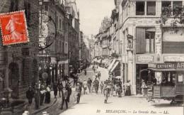 BESANCON LA GRANDE RUE TRAMWAY AVEC PUBLICITE POUR ABSINTHE (OXYGENEE CUSENIER) - Besancon