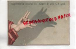 CHROMO - REGENERATEUR UNIVERSEL DES CHEVEUX DE MME A.A. ALLEN- COIFFEUR -PARFUMERIE-OMBRE CHINOISE LOUP- COIFFURE - Trade Cards