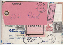 Norway: Postal Label, 162 Krone & Pink Ilpakke, Fusa To Rud, 27 May 1987 - Norway
