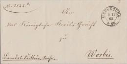 Preussen Brief K2 Merseburg 2.11.65 Gel. Nach Worbis - Preussen