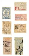 Lot De 7 Timbres Stamps Taxes Quittance & Reçus Affiches Paiements Effets ..-  FRANCE - Postage Due
