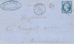 -> Marque De Cornimont Vosges 18611 Sur 20c Bleu Par Belfort + Cachets Ferrovières Au Verso - Alsace-Lorraine